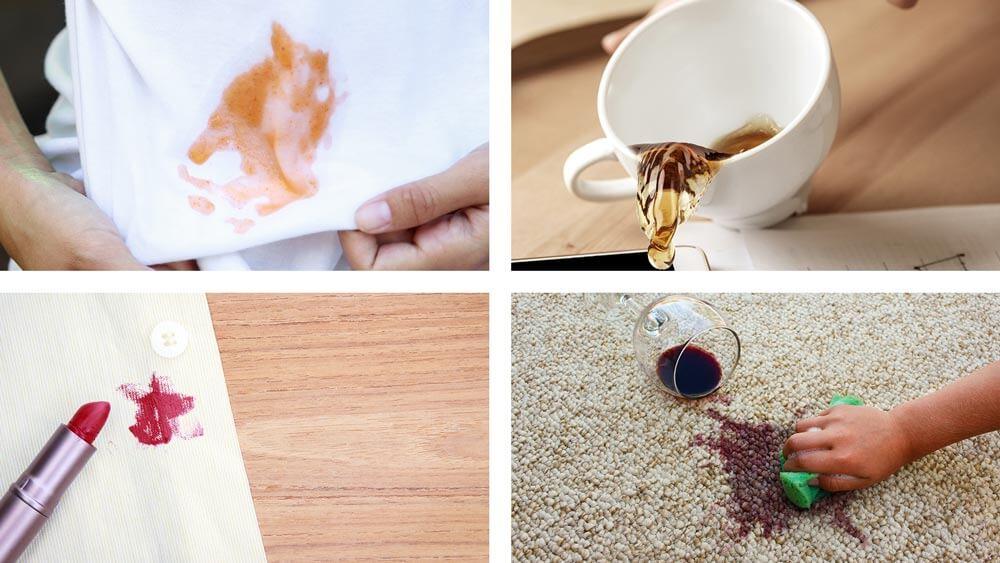 Kolaž slika sa flekama od kafe, karmina, pudera