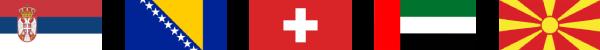 Zastave Srbije, Bosne i Hercegovine, Švajcerske, Ujedinjenih Arapskih Emirata i Makedonije